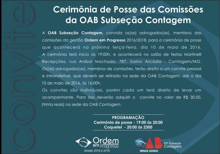 Cerimônia de Posse das Comissões OAB Contagem