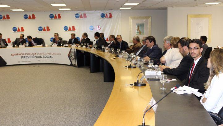 Conselho Federal da OAB realiza audiência pública sobre a reforma da previdência social