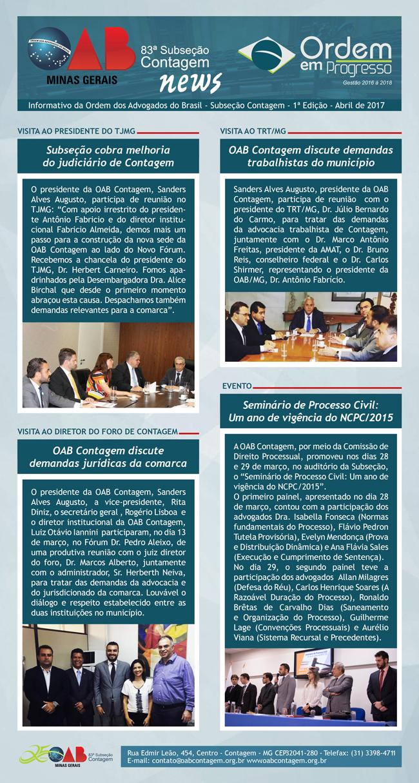 Informativo OAB Contagem – Edição n° 1 – Abril 2017
