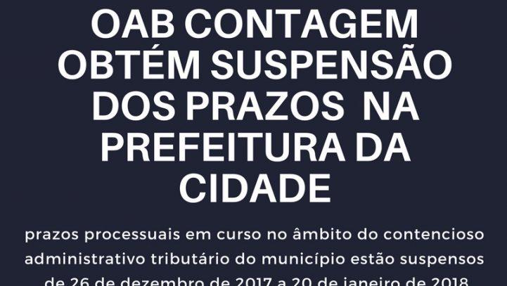 OAB Contagem obtém suspensão dos prazos processuais do contencioso administrativo tributário do município