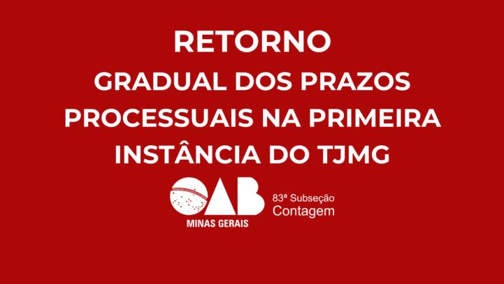RETORNO GRADUAL DOS PRAZOS PROCESSUAIS NA PRIMEIRA INSTÂNCIA DO TJMG