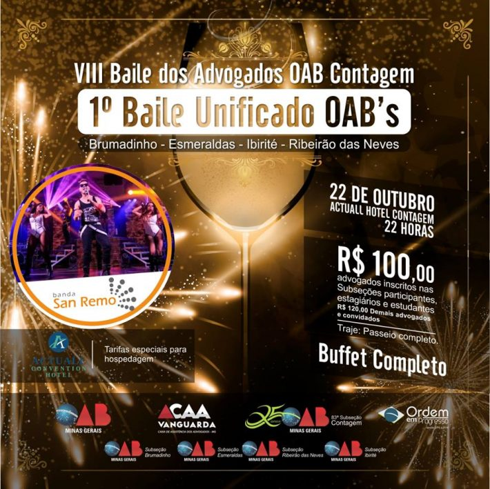 Venda Convites e Mesas do VIII Baile da OAB Contagem